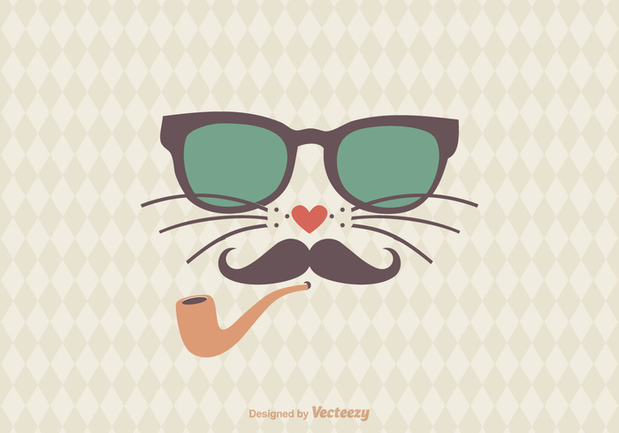 youth whiskers wear vintage vector triangle trendy trend tobacco pipe teenager t-shirt style retro print postcard portrait picture pet pattern modern Look image illustration hipster head graphic glasses flat fashion face elegant design cute cat cartoon card beautiful art animal