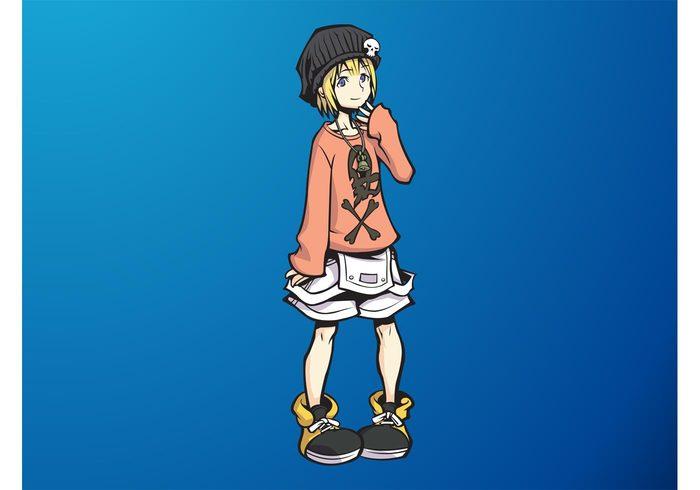 Teen smiling Smile skulls manga Japanese japan girl female cute comic character cartoon blonde Asian Anime