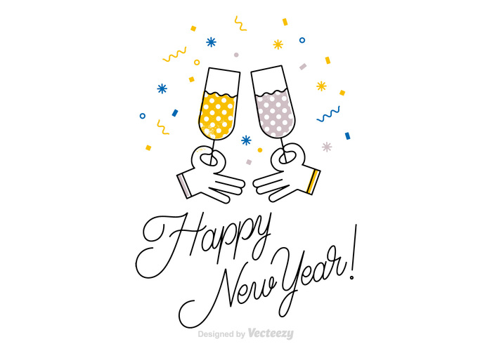 New Year S Line Art : Free happy new year vector card welovesolo