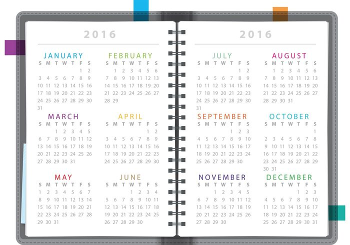 yearly year weekly week time template scheduler schedule planner organizer office new year monthly month modern layout journal format day date daily calender calendar 2016 calendar Annual agenda 2016