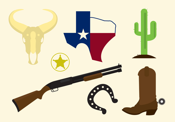 wild western west texas map texas symbol star skull shotgun sheriff set old western town illustration icons icon horseshoe hat flat design flat culture cowboy cactus boots boot badge american