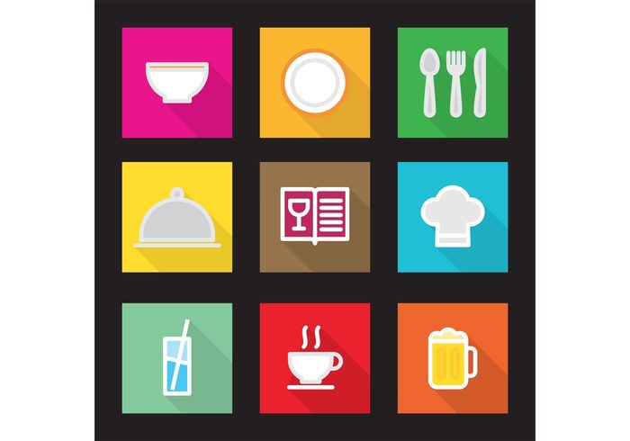tea spoon shadow menu knife kitchen icons icon hat glass fork flat style flat design flat dish cup colorful color coffee chef bowl beer