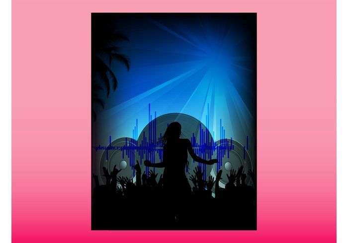 summer speakers silhouettes rectangular rectangle poster people palms Open air music flyer festival dancing dance crowd club