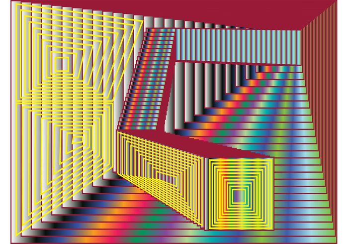wallpaper stripes squares rainbow perspective lines linear geometric shapes frames colors colorful background