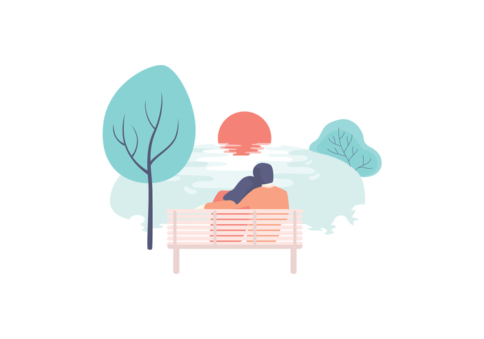 water reflexions water vector sunset vector landscape vector trees sunset illustration sunset sun nature landscape lake sunset lake illustration couple bench
