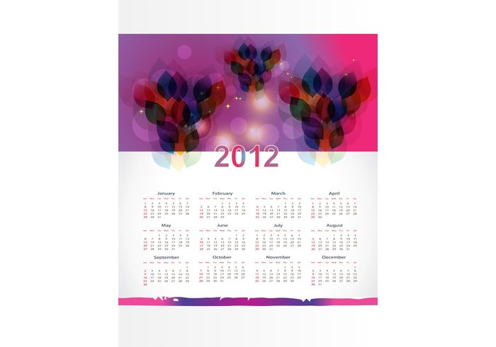 year weeks template purple psychedelic months layout header gradient Dtp days colorful calendar
