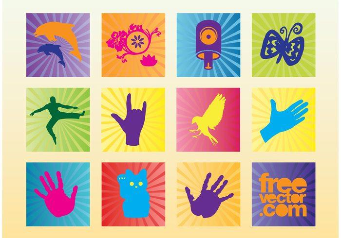 vector icons Stock images spray can Rock hand Maneki neko Lucky cat jumping hands Flying bird flower exotic Dancing man butterfly Aerosol