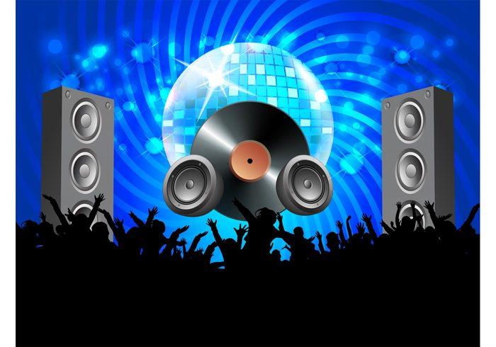 vinyl record speakers people party Glitter ball flyer disco ball disco dance crowd club bokeh