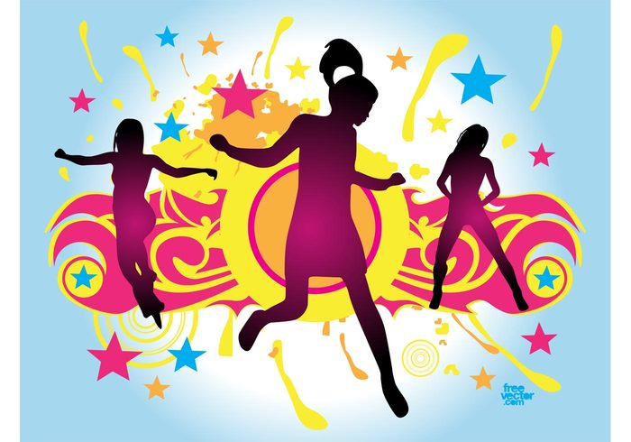 woman tribal stars silhouette party layout jump happy Girl vector flyer Flier dancing dance colors colorful circles body