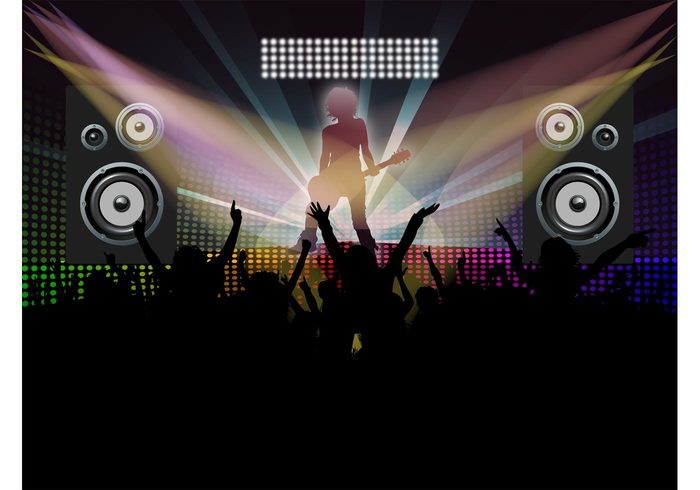 speakers silhouettes party music lights guitarist guitar disco dancing dance crowd club