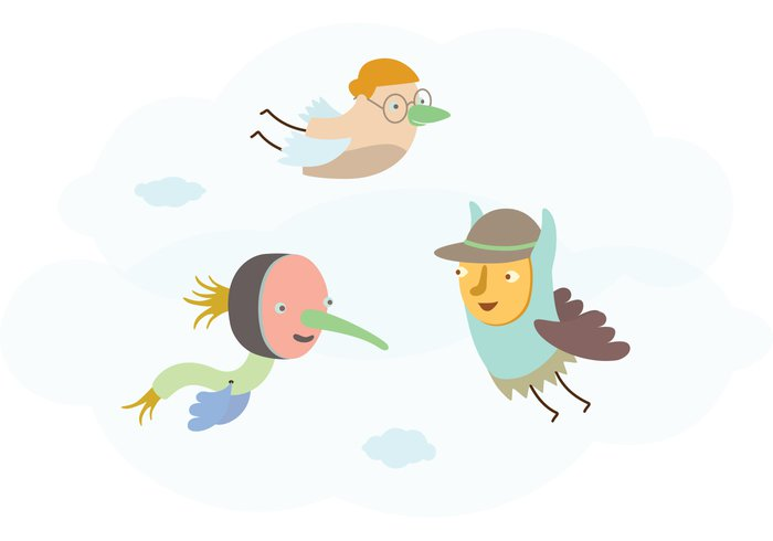 wallpaper vector illustration flying creatures flying characters flying drawing creatures clouds children childish characters background