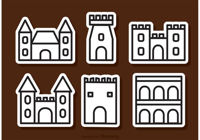 tower stronghold stone silhouette palace outline old medieval knight kingdom isolated history historical Fortress fort fantasy fairytale city castle building architecture ancient