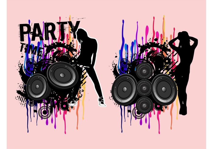 women woman splatter speakers silhouettes sexy Sex appeal party music girls female disco dance
