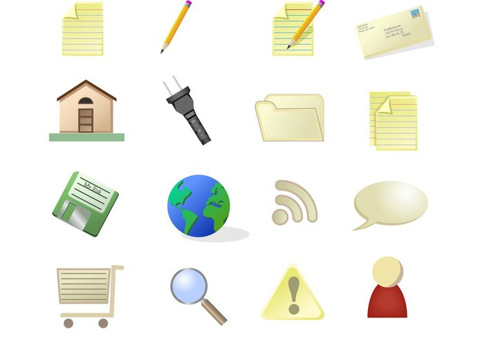 send save RSS pencil paper letter globe email earth disc