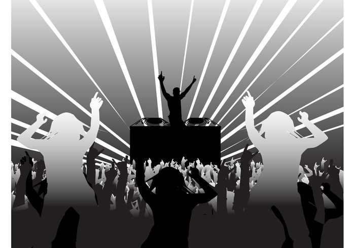 silhouettes silhouette rays poster people music flyer DJ disco dancing dance crowd club background