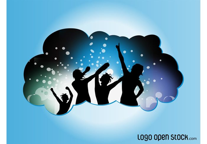 silhouettes people party music fun DJ disco dance club cloud banner badge