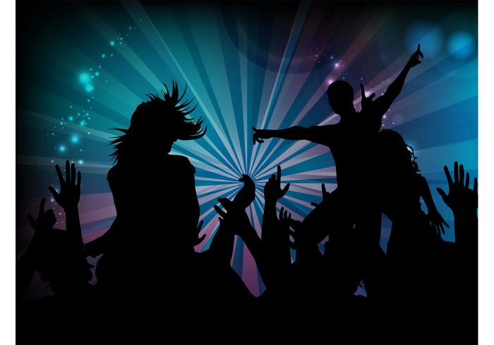 starburst silhouettes rays people party music lights disco dance crowd club