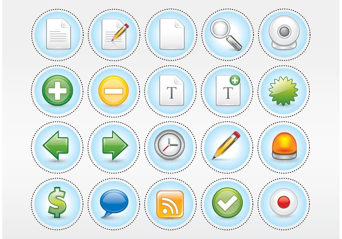 www web 2.0 text speech RSS pencil paper magnifying glass Design pack Computer signs clock clip art business icons arrows $