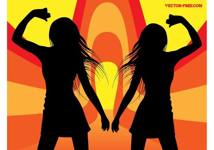 young women swirls sexy pose nightlife Move girls energy discotheque disco dancing dance cool clubbing club 70's