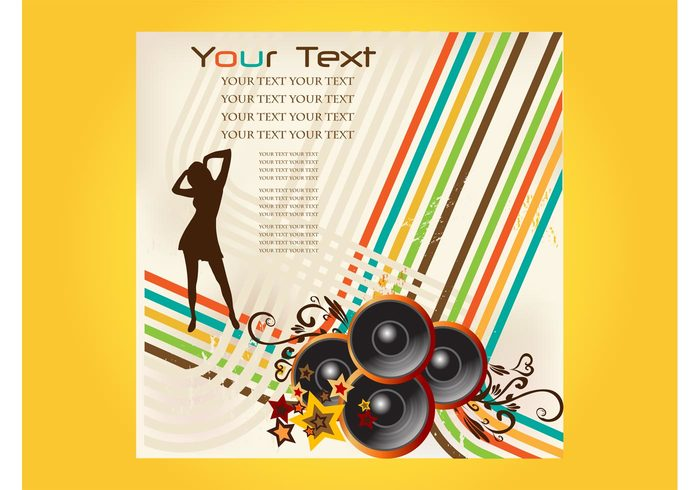 woman stars speakers silhouette party music lines girl disco dancing dance club