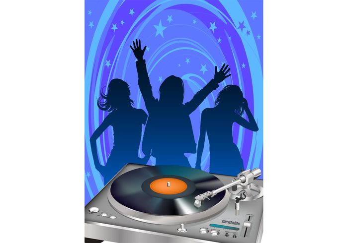 vinyl record turntable swirls stars silhouettes shiny music metallic girls disco detailed dancing dance
