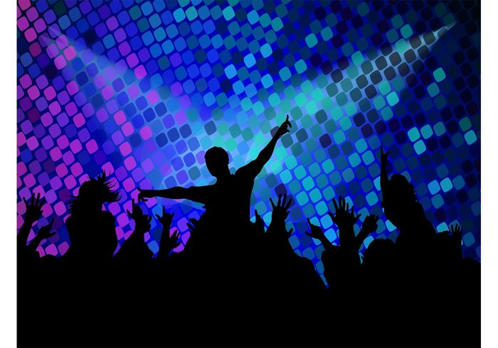 silhouettes poster nightlife nightclub music lights flyer Flier DJ dancing dance crowd club