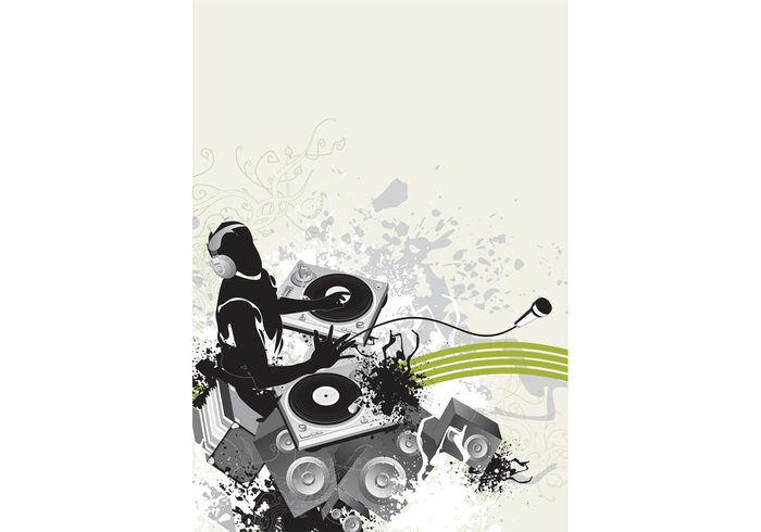 turntables template swirls scrolls poster plants party microphone lines flyer edm DJ disco dance club
