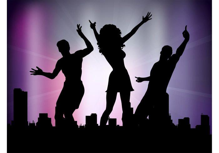 woman silhouettes people party men man disco dancing dance club cityscape city