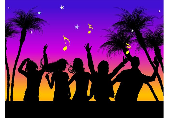 women summer silhouettes people party palms notes night music men dancing dance beach