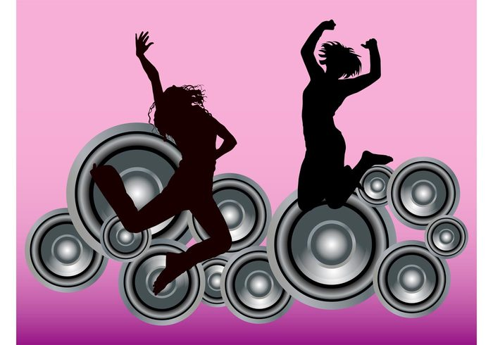 women speakers silhouettes round party nightlife musical music jump fun flyer Flier disco dance club circles