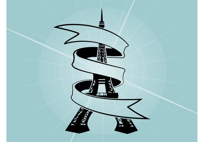 vacation travel romance ribbon Paris monument landmark holiday france Eiffel Tower Eiffel banner architecture