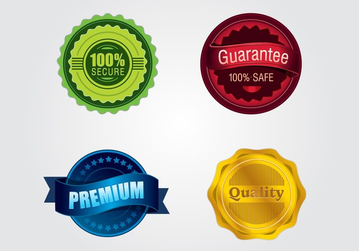 seal satisfaction red premium high detail gree gold emblem blue 100%