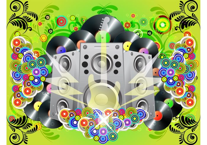 Vinyl records speakers rock poster party musical instrument music guitar flyers flowers electric guitar circles abstract