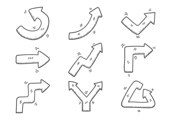 white web Way vector upwards up turn thin target symbol swirl sketch sign sideways shape set right pointer point path moving motion line isolated ink illustration icon hand group graphic forward flechas figure element editable drawn drawing down doodle direction different design curve cursor collection background arrow abstract