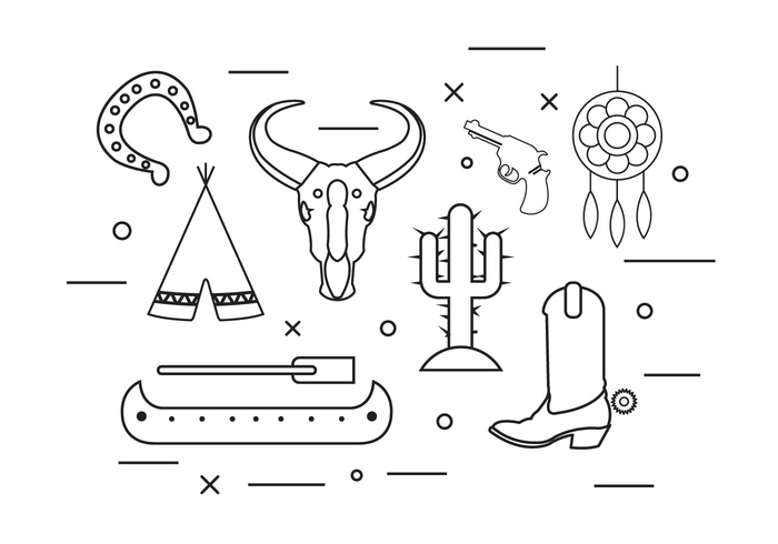 wild west vintage tribal traditional tipi symbol skull set pistol pattern ornament native isolated indian illustration icon horse shoe hipster feather ethnic element dreamcatcher dream culture Catcher canoe cactus boot background Aztec arrow american abstract