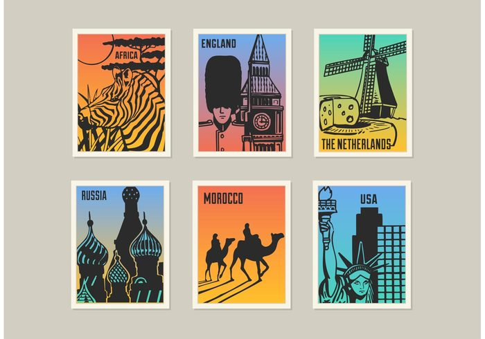 vintage vector vacation USA united states of america UK travel tower tourism The netherlands state of liberty skyscraper skyline signs russia quirky poster objects Moscow morocco monuments mill London landmarks illustration Holland holiday England Dutch desert cityscape church cheese camel buildings arts america africa acacia tree