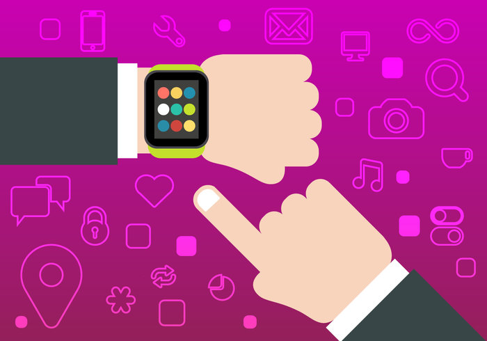 watch video touch time thumbs technology symbol social sign photo network music media label internet of things interface illustration icon hand guide flat emblem email element concept computer calendar business app