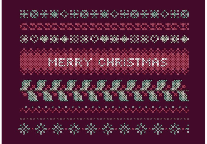 traditional Threads Textile text sweater stitch snowflake snow seamless scarf reindeer red pattern ornament needlework mistletow merry Knitwear knit horizontal holly holiday happy framework frame fabric embroidery deer decorative decoration cross stitch cross cold cloth christmas border
