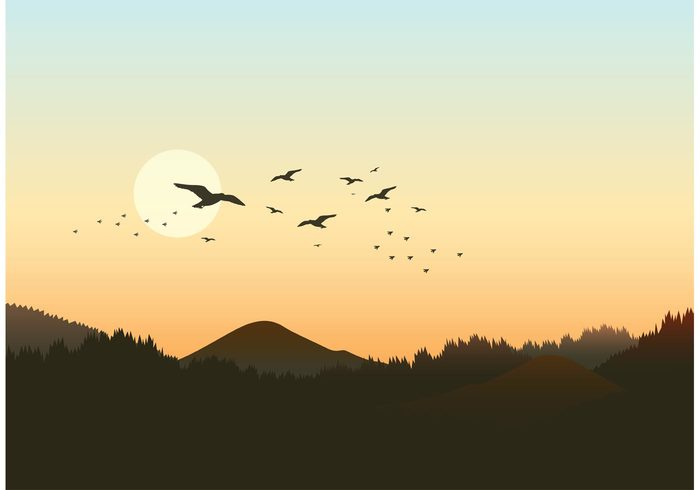 wings winged vector symbol sunrise silhouettes shape set nature many landscape isolated illustration group graphic formation fly flock of birds vector flock flight feather design dawn sky clip art black birds background animals