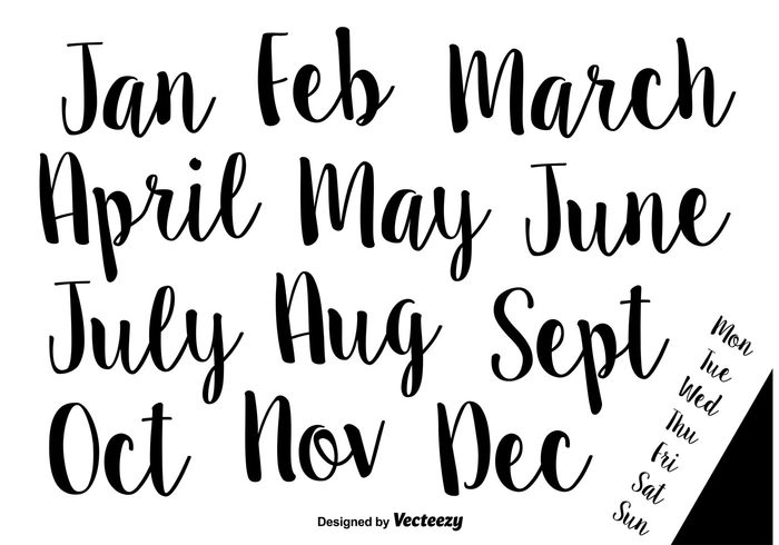 Hand-Drawn Calligraphic Vector Names of Months and Weeks ...