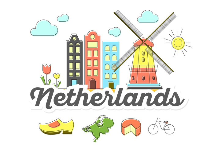 windmill wind tulip travel traditional tourism symbol set Netherlands netherkands map national mill map landmark isolated illustration icon Holland flat Europe element Dutch culture country background architecture amsterdam