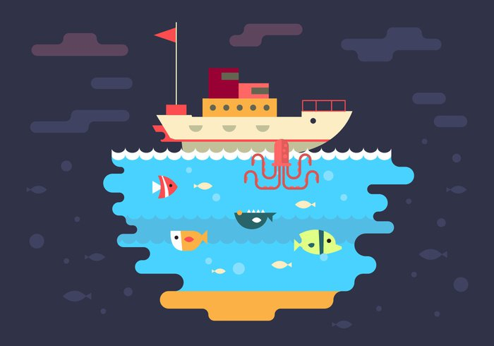 water vacation underwater under the sea Under tugboat travel summer ship sea resort octopus ocean nature lighthouse life landscape illustration flat fish color city cartoon boat background