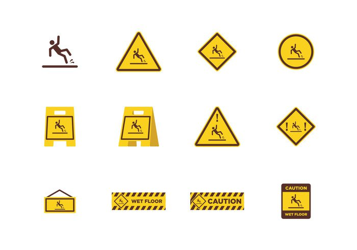 wet floor wet warning vector symbol Surface Slippery Slip slide sign safety plastic object isolated illustration icon floor danger Cleaner clean caution background Accident
