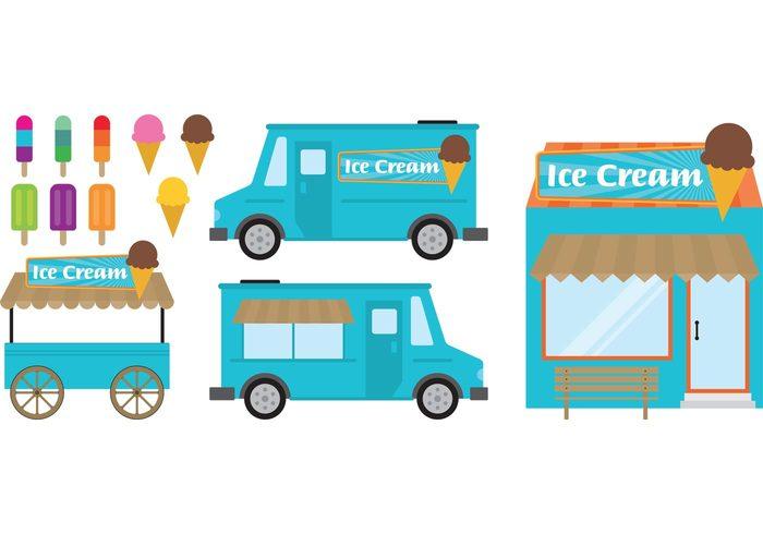 Vanilla Truck Sweet Summer Shop Sell Retro Menu Design Card Icecream Ice Cream Vintage