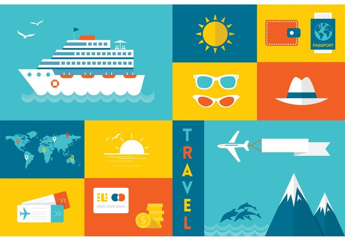 wave voucher vacation trip trend travel tourism ticket symbol Sun hat Sun glasses sun style sign ship set sea poster passport ocean mountain modern map location Liner icon holiday gulls flying flat dollar design cruise liner cruise credit card collection airplane