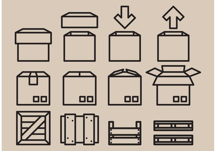 transport square shipping shape post Parcel packing packaging package open object isolated empty delivery deliver crates crate icon crate container closed case carton cardboard box