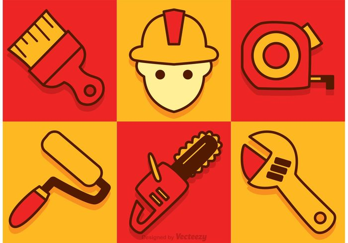 wrench work tool red painters roll paint roller orange measure man industrial helmet equipment construction icon construction chainsaw icon cahinsaw building builder Build