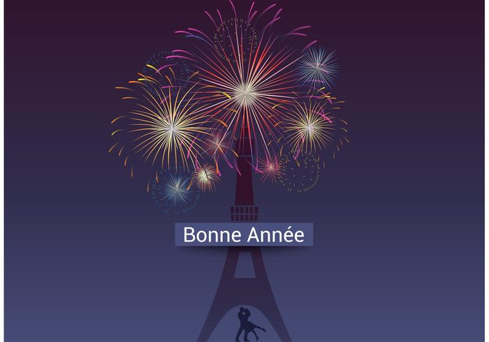 woman urban two tower together sky silhouette seasonal romantic romance Paris night new man male love lights kiss happy new year happy girl foreign Fireworks female explosion evening Eiffel Tower Eiffel dark couple colors colorful celebration celebrate calendar burst bright boy bonne année beautiful
