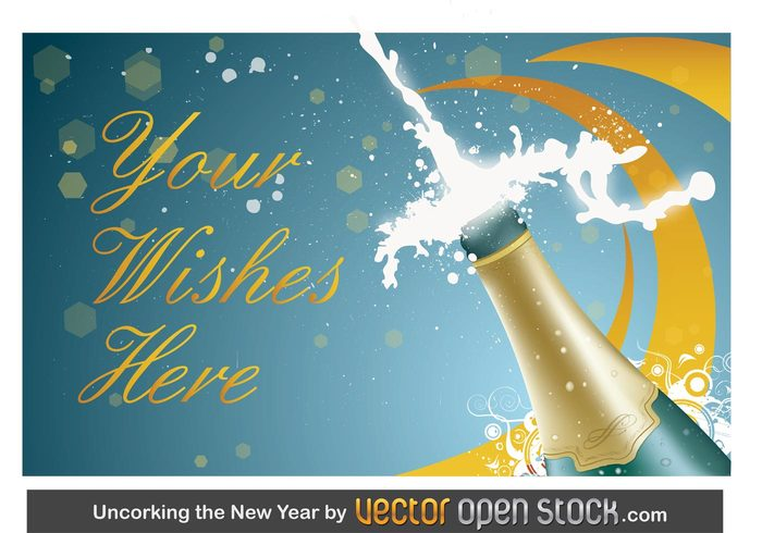 swirl sparks party new year invitation greeting card gift box friends family drink cork christmas celebration