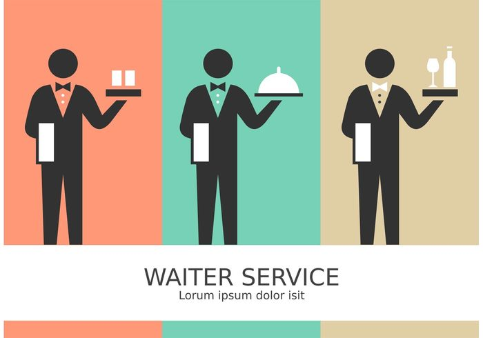 worker waiter vector uniform tuxedo tray symbol suit stick figure pictogram Stick figure staff service serve Servant restaurant plate person occupation meal man male Job isolated illustration Hold glasses food design butler service butler bow black background Adult